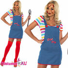 Ladies Seed of Chucky Costume Doll Halloween Fancy Dress Up Outfits S M L XL