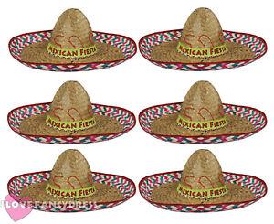 PACK OF 6 MEXICAN FIESTA SOMBRERO HAT WILD WESTERN FANCY DRESS ... 53f37dd5f230