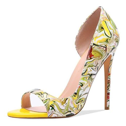 Details about  /Women Floral Peep Toe Stilettos High Heels Slip On Yellow Shoes Party Evening /_