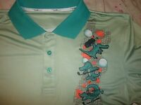 Men's Flow Society Golf Shirt Flow Golf Alligator Green S/s Polo Size Xl