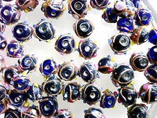 VTG 50 COBALT BLUE WEDDING CAKE BALL BEADS GLAM! DETAILED! JEWELRY #032912t