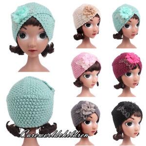 Winter Children Girls Knitted Warm Beanie Turban Cap Hat Flower Headwear Scarf