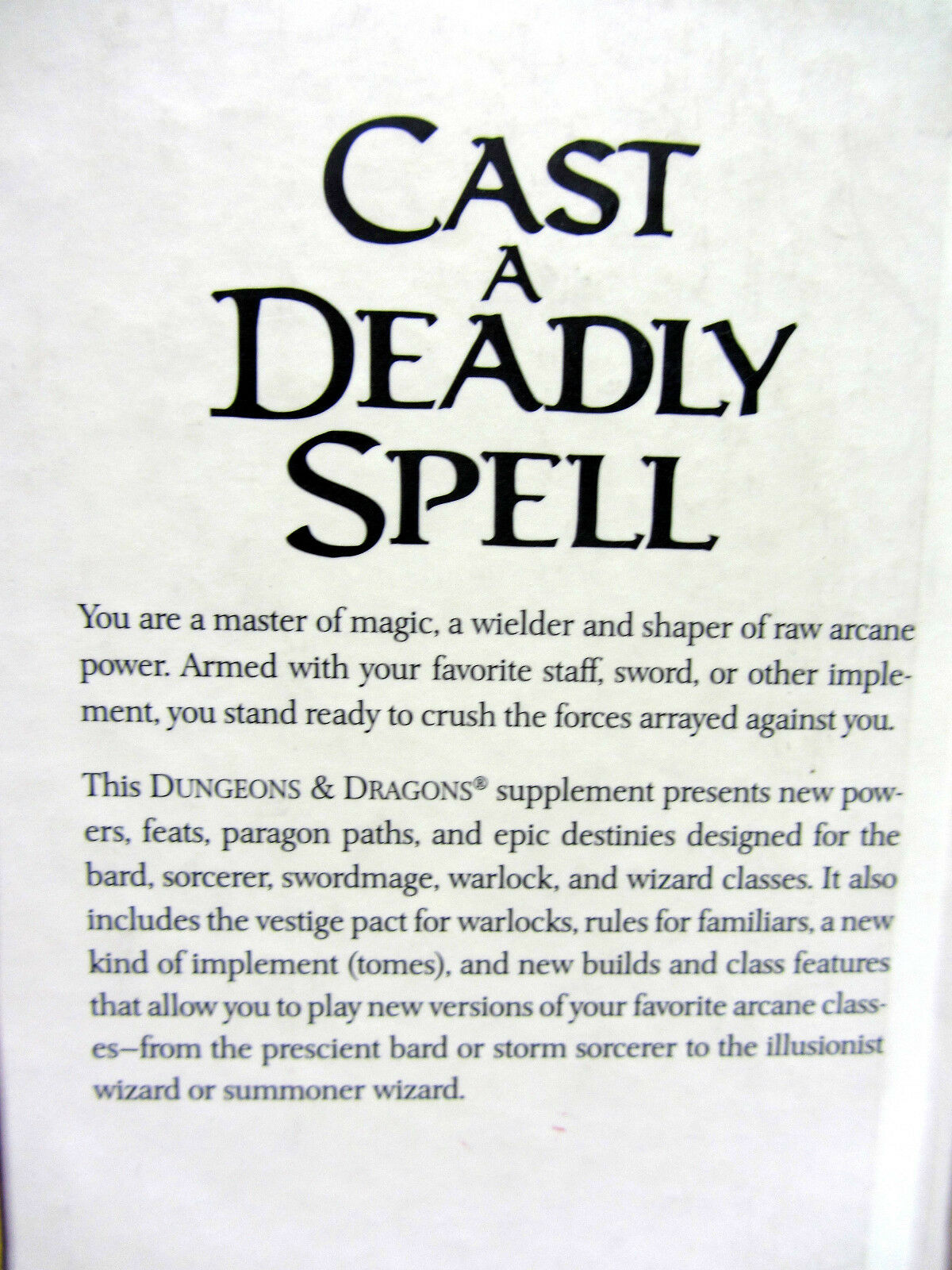 Dungeons & Dragons 4th Ed Character Supplement-- Arcane Power