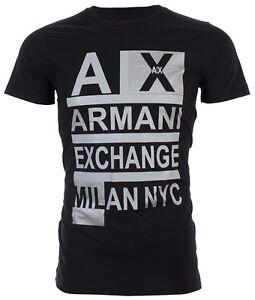 Armani-Exchange-STACKED-Mens-Designer-T-SHIRT-Premium-BLACK-Slim-Fit-45-NWT