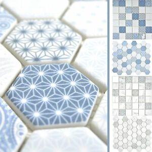 Details zu Mosaik Fliese aus Glas Acapella | Hexagon Sechseck Badezimmer  Duschtasse Dusche