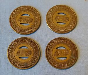 Chicago-amp-Calumet-District-Transit-Co-Inc-Vintage-Brass-Tokens-Lot-Of-4