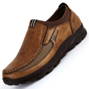 Men-039-s-Winter-Pull-on-Loafers-Leather-Casual-Shoes-Breathable-Antiskid-Moccasins