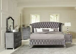 Image Is Loading MAGICAL 4 PC GREY VELVET TUFTED KING PLATFORM