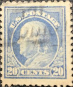 Scott-515-Perf-11-US-1917-20c-Ben-Franklin-Postage-Stamp-XF-LH