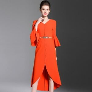 new style d9f4c 3afc3 Dettagli su Elegante vestito abito corto arancione tubino maniche lunghe  comodo 3944