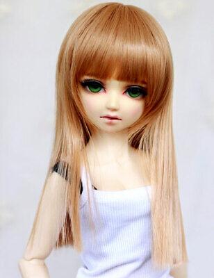 6-7 1//6 BJD Doll Long Wig Hair Wavy Natural Curly Ends Light Auburn Golden Brown