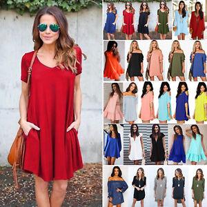 Damen-Hemdkleider-Longshirt-Bluse-Lose-Minikleid-Sommerkleid-Tunika-Oberteil-Top