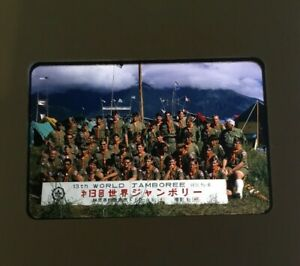 Vintage-1971-Photo-Slide-Boy-Scouts-13th-World-Jamboree-Fujinomiya-Japan-Mt-Fuji