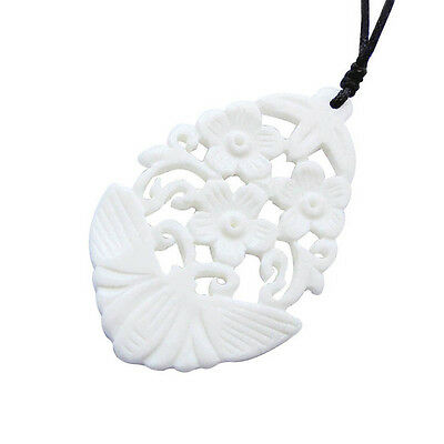 Tibetan Bone Butterfly Flower Pendant Jewelry