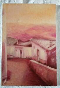 Arte-Moderna-Quadro-Dipinto-a-olio-originale-PAESAGGIO-ROSA-Painting-LABRUNA