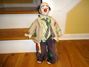 """Creepy vintage CLYDE THE HOBO CLOWN 20"""" porcelain Dynasty Doll"""