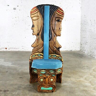 Audacious Witco Female Tiki Chair Carved Tiki Females Mid Century Blue Velvet Upholstery Orders Are Welcome.
