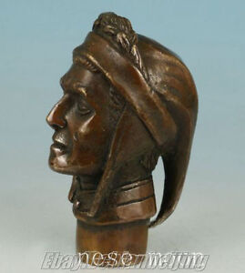 Old Bronze Hand Carved poet Dante Statues Cane Walking Stick Head