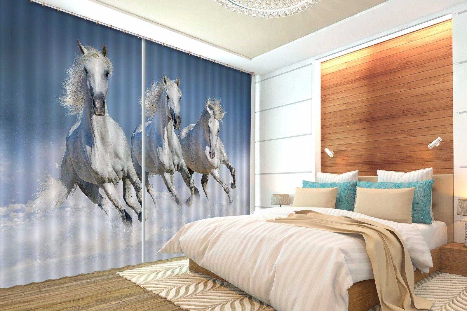 Caballo blancoo 3D 679 Cortinas de impresión de cortina de foto Blockout Tela Cortinas Ventana Reino Unido