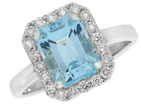 Blue Topaz Ring White Gold Engagement Ring Blue Topaz And Diamond Ring Size R-z