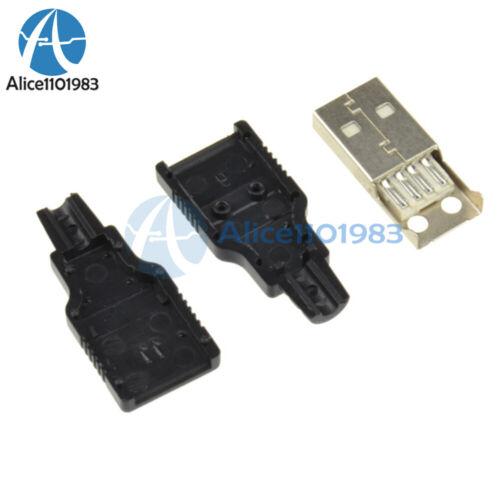 50Pcs USB2.0 Type A Plug 4-pin Adaptateur Mâle Connecteur Jack /& Noir Couvercle en plastique