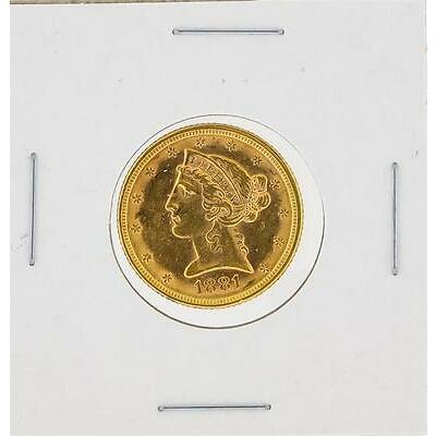 1881 AU $5 Liberty Head Half Eagle Gold Coin Lot 546