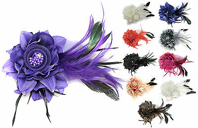 Long Black Feather Crystal Flower Fascinator Hair Clip Pin Mother of the Bride