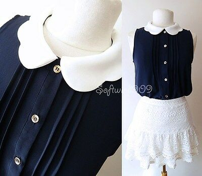NEW Forever 21 Navy Blue/Cream Scalloped Peter Pan Collar High Low Shirt Top