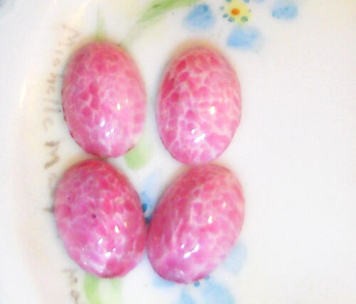 #494C Vintage Glass Cabochons Pink Dome Cottage 11x16mm Oval  NOS Flat Bottom