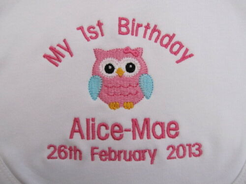 Owl Gift Embroidered for Baby/'s 1st Birthday GIRL Personalised Baby Bib