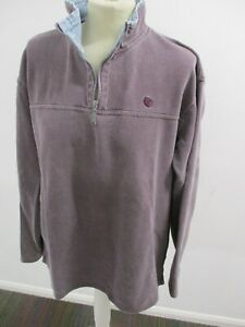 Unisex-Overhead-Zip-Neck-Top-Fat-Face-Size-S-Mauve-With-Blue-Cord-Collar
