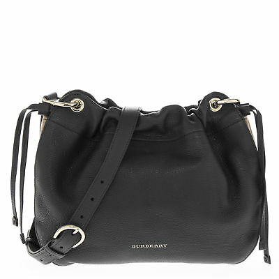 Burberry Women's Grainy Leather and House Check Crossbody Bag Black