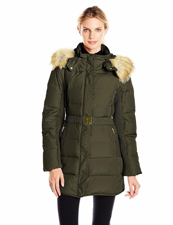 Jones New York Women's Belted Down Coat - SZ XS color Olive,NWT