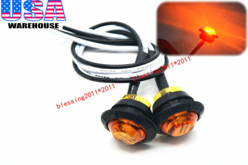 """2x 3//4/"""" Marker Lights Triple Diode LED Truck Trailer Clearance Indicator Yellow"""