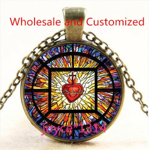 Saint heart of Jesus Stained Cabochon bronze Glass Chain Pendant NecklaceTS-4708