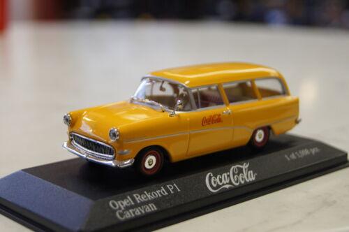 """Opel Rekord p1 Caravan /""""coca-cola/"""" 1958 amarillo 1:43 Minichamps nuevo /& OVP"""