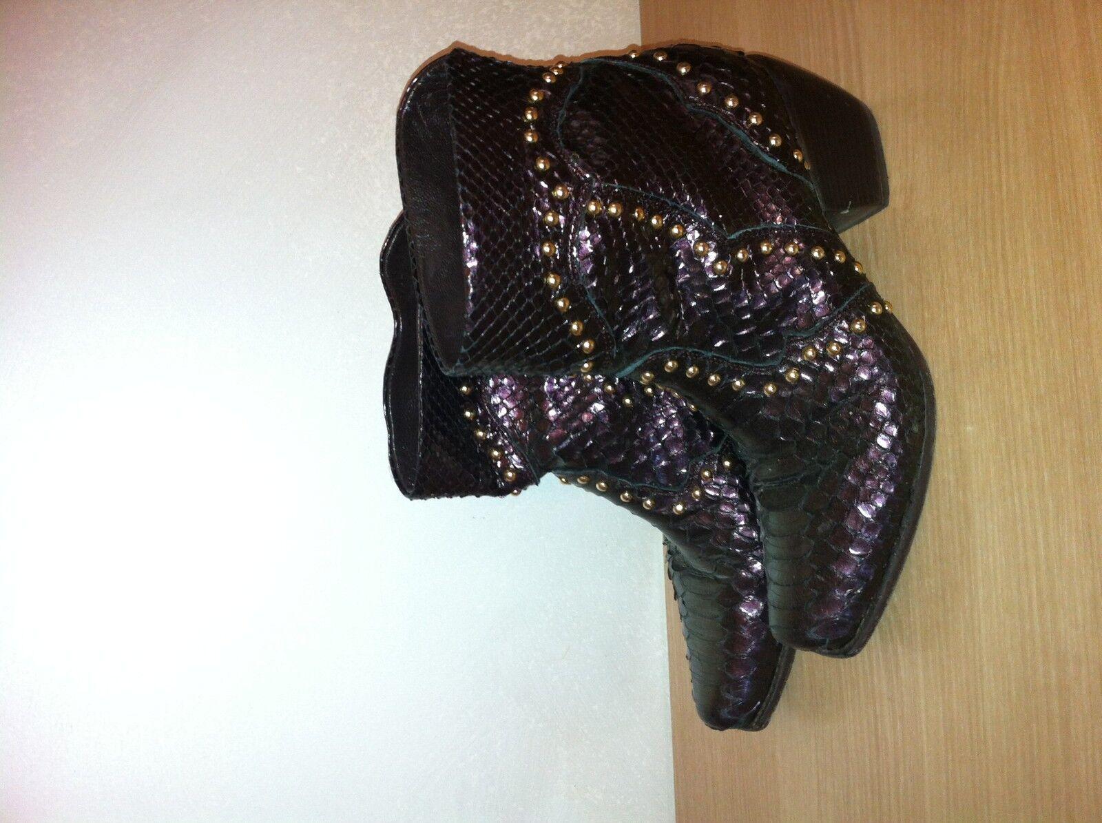 STIVALI Damens RETTILE BULLONI MADE IN ITALY TG.37 PELLE CUOIO Schuhe