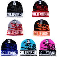 California Republic Beanie Hat Classic Bear Knit Woven Cuffed Skull Winter Cap