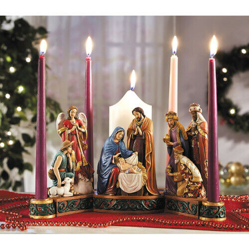 Advent Wreath by Michael Adams Jewel Tone Carved Wood Look
