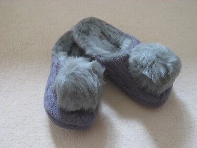 Ed ladies designer grey knit fur pom pom mule slippers new sizes UK 3-4 Ruby