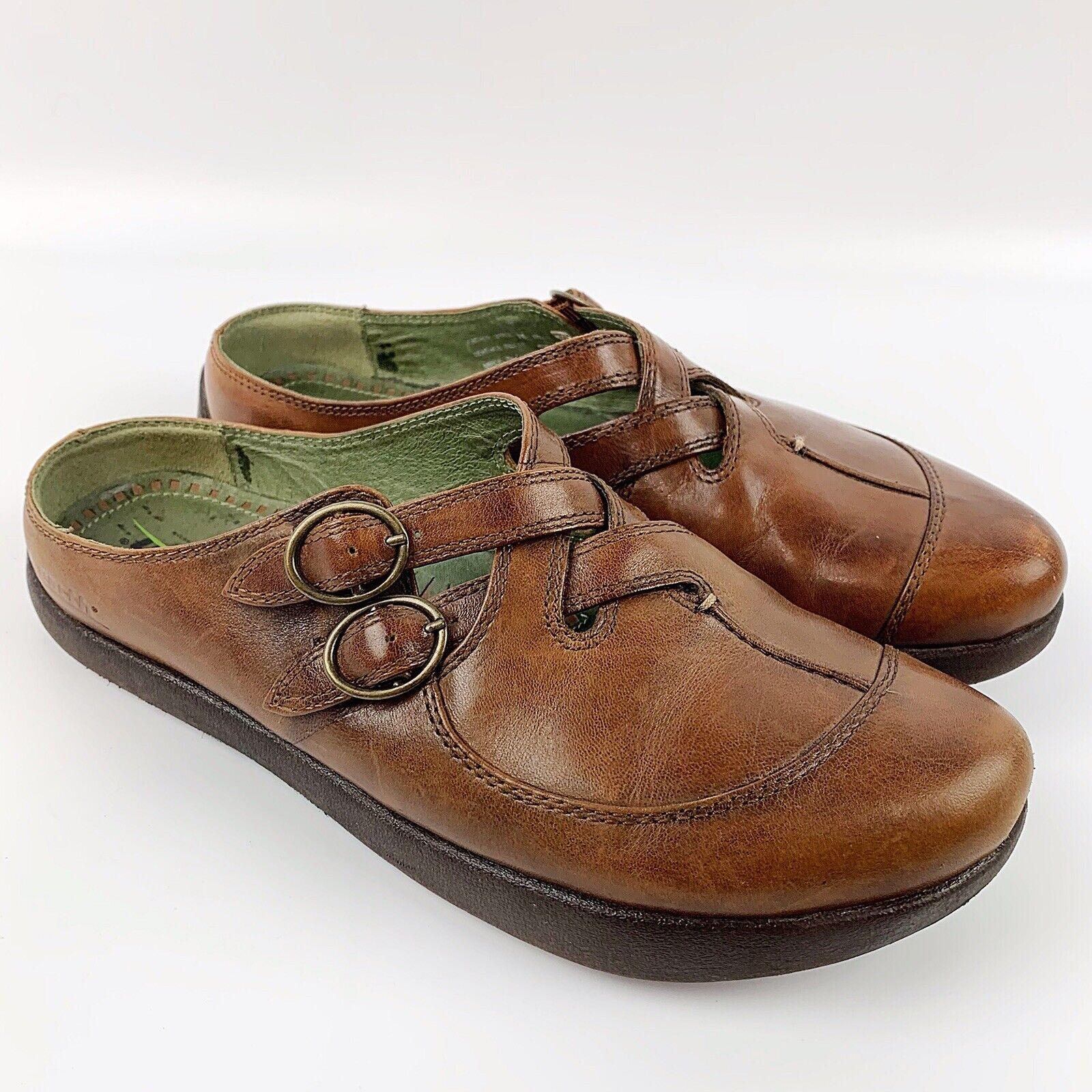 EARTH KLASO Womens Faithe Brown Leather Slip On Clog Mules Comfort shoes Sz 7