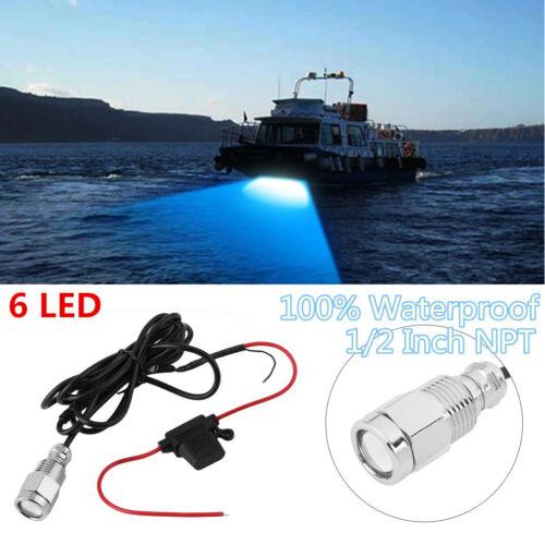 "6LED 1//2/"" NPT 12V 9W Underwater Boat Drain Plug Light Waterproof Connector MX"