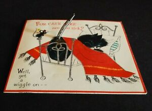 Vintage Hallmark Greeting Card Get Well 3D Wiggle Tail Cat in Bed 25C76-4