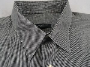 Details About Burberry London Men S L S Button Up Black White Checkered Shirt Xl Usa Made