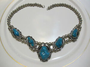 VTG BLOSSOM STERLING SILVER NECKLACE REAL GENUINE CHUNKY TURQUOISE STONES MEXICO