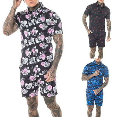 Mens Casual Floral Button Down Shirt and Shorts 2 Piece Set Outfits New LO