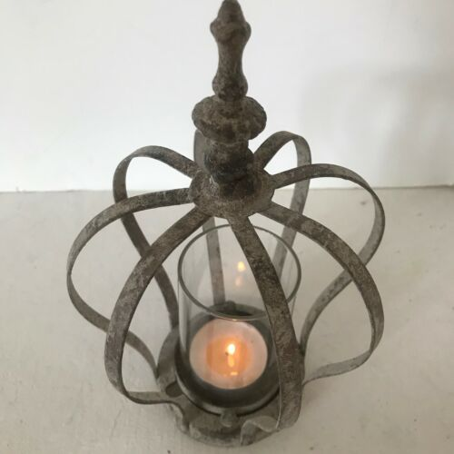 Vintage Style Rustic Crown Metal and Glass T light holder in 3 Finishes