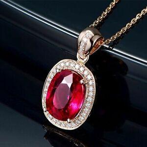 Silber-925-Halskette-Luxus-Rose-Gold-Rubin-Edelstein-Anhaenger-Damen-Schmuck-NEU