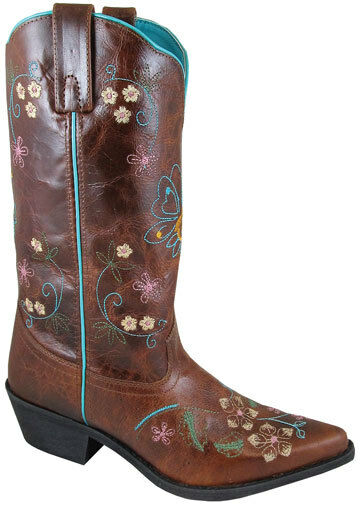 NEW  Ladies Smoky Mountain Boots - Western Cowboy - Leather Brown & bluee Flowers