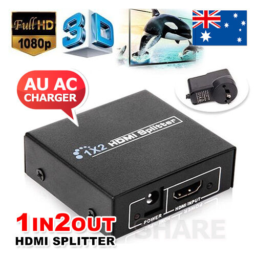 1 of 1 - Full HD HDMI Splitter 1X2 2 Port Hub Repeater Amplifier v1.4 3D 1080p 1 in 2 out
